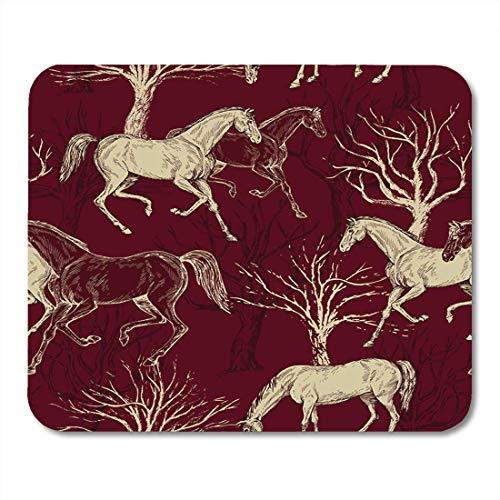 Luancrop Mauspads Rote abstrakte Weinlese-schöne Pferde und Bäume kreative Waldmausunterlage für Notizbücher, Tischrechnermatten Büroartikel -