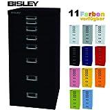 BISLEY Schubladenschrank 29 aus Metall mit 8 Schubladen | Schrank für Büro, Werkstatt und Zuhause | Stahlschrank in 11 Farben (Schwarz)