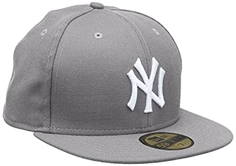 New Era Erwachsene Baseball Cap Mütze MLB Basic NY Yankees 59 Fifty Fitted, Grey/White, 7 3/8, 10003438