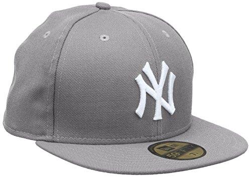 New Era Erwachsene Baseball Cap Mütze MLB Basic NY Yankees 59 Fifty Fitted, Grey/White, 7 3/8, 10003438