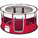 TecTake Welpenlaufstall Tierlaufstall faltbar mit abnehmbarem Boden für Kleintiere wie Hunde, Hasen, Katzen - Diverse Farben - (Rot | Nr. 402440)