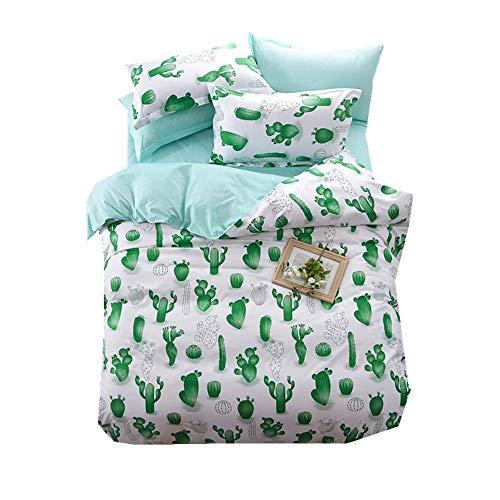 Elegant 135x200cm Blau Bettbezug Set mit Kissenbezug 3D Kaktus Luxus 3 Stücke Bettwäsche Set mit Reißverschluss (Kaktus 2, 135x200cm für 1.2M Bett)
