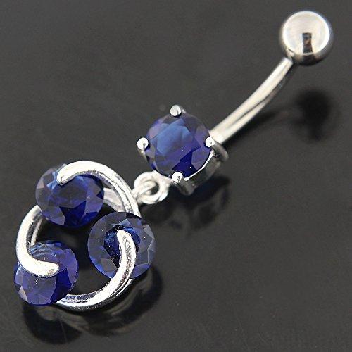 Forme fantaisie Atom avec 3 CZs ronds pendantes en argent 925 avec des barres de ventre en acier inoxydable Bleu foncé