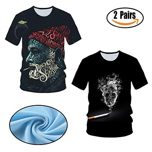 2 Stück,3D Männer T-Shirt - mit Frontprint und Rundhalsausschnitt,Rauchender Bauer Farbe Mischen Kurzarm,M