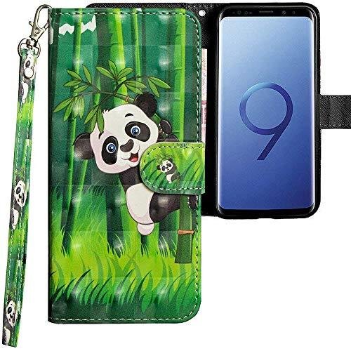 CLM-Tech kompatibel mit Samsung Galaxy S9 Hülle, Tasche aus Kunstleder, Panda schwarz weiß grün, PU Leder-Tasche für Galaxy S9 Lederhülle