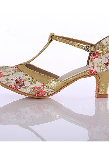 La mode moderne Sandales femme Chaussures de danse latine du tissu de bal talons talon sur mesure piscine bleu/rouge Blue
