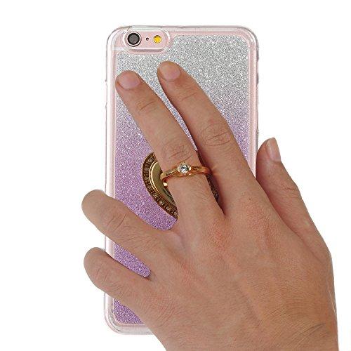 """iPhone 6s Handyhülle, Bling Glitzer Funkeln CLTPY iPhone 6 Durchsichtig Dünne Matte Gel Cover Schlanke Hybrid Stoßdämpfende & Kratzfeste Gummi Case mit Kippständer für 4.7"""" Apple iPhone 6/6s + 1 x Sch Purple with Ring"""