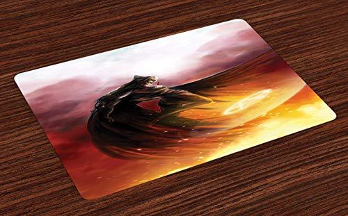 ABAKUHAUS Fantasiewelt Platzmatten, Superheld in seinem Original-Kostüm fliegen Magic Flame Save The World Theme, Tiscjdeco aus Farbfesten Stoff für das Esszimmer und Küch, Gelb ()