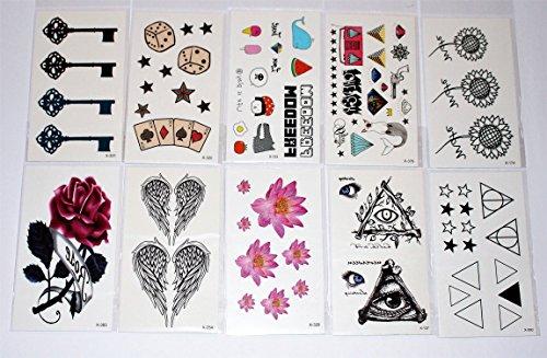 Wolga-creativo tattoo set 10arco come principale immagine rose ali piuma smily comic farfalla fiore gatto croce tatuaggi temporanei (temporaneo trasferimento schermo, delicato sulla pelle)