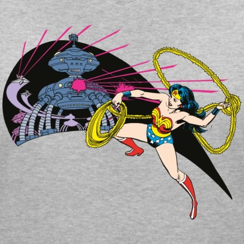 DC Comics Originals Wonder Woman Lutte Rétro T-shirt col V Femme de Spreadshirt®‎ gris chiné
