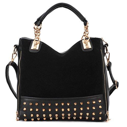 Beyondfashion Ladies Rivet Tote Shoulder Hobo Bag Messenger Handbag
