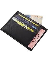 Extra Flaches XL Leder Ausweis- und Kreditkartenetui KFZ-Schein MJ-Design-Germany in Kalb-, Büffel- oder gegerbtem Rinderleder in verschiedenen Farben (Rind Schwarz)