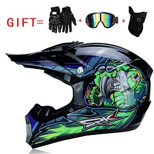 Doppelter Sport-Motocross-Helm Fox Adult Motorradhelm DOT-zertifizierter ATV-Offroad-Roller für Jeeps mit Brille, Handschuhe (S, M, L, XL),XL