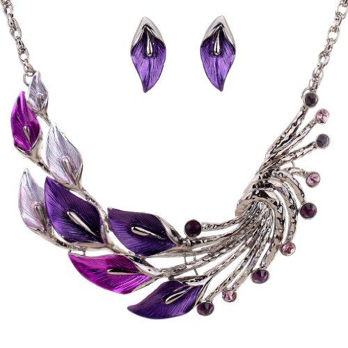 Yazilind estilo étnico tibetano de plata púrpura del pavo real cristal fornido babero Cristal Pendientes Collar Set