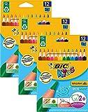 Bic Kids ECOlutions Evolution Dreikant Buntstifte – für Kinder ab 2 Jahren – Ergonomisch – Fördert richtige Handhabung – Bruchsichere Mine – Ohne Holz – Buntstifte 3 Sets mit je 12 Buntstiften