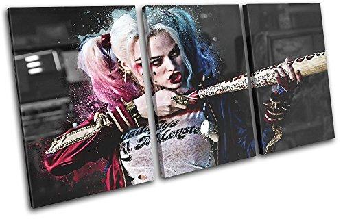 (Bold Bloc Design - Suicide Squad Harley Quinn Movie Greats 150x75cm TREBLE Leinwand Kunstdruck Box gerahmte Bild Wand hangen - handgefertigt In Grossbritannien - gerahmt und bereit zum Aufhangen - Canvas Art Print)