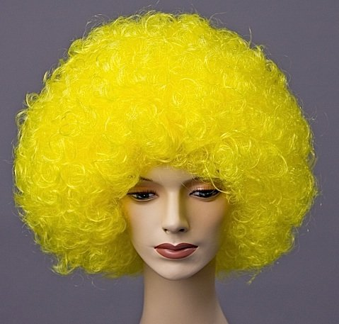 Hair Perücke Locken Perücke Farbe gelb Fasching Clown (Lockige Clown Perücke Gelb)
