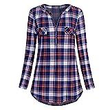 VECDY Damen Pullover Lässiges Bluse Langarmhemd Tops Kariertes Hemd V-Ausschnitt Oberteil Elegant Reißverschluss Oben Lose Spitze S-XXL