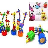 mxjeeio 18 * 5 * 5 cm Kinder Intelligenz Spielzeug Tanzen Stehen Bunte Schaukel Giraffe Holzspielzeug Holz Swing(Zufällige Farbe)