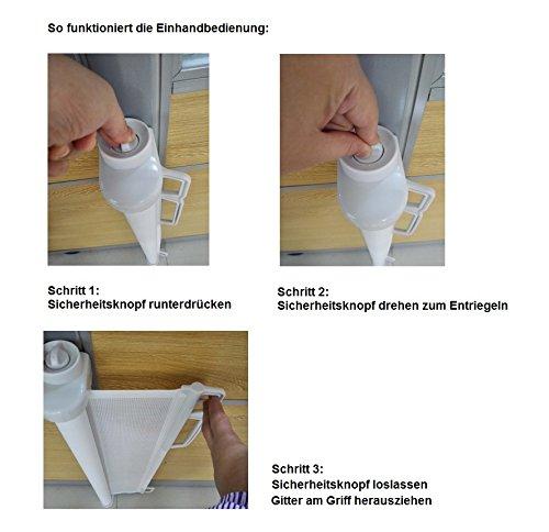 Impag HIGH Tür- und Treppenschutzgitter Rollo Extrahoch 105 cm ideal für große Menschen, einrollbar ausziehbar bis 150 cm Polar-Weiß - 3