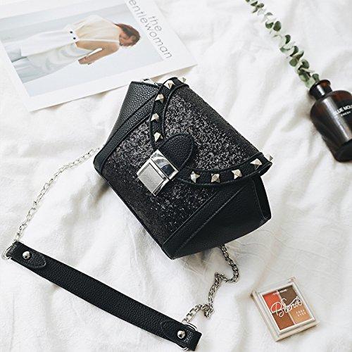 Damen Kettenpackungen Pailletten Nieten Flügel Tasche Schulter Mode Portable Messenger Bag , Schwarz