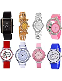 Briota New Fashion Multi Dial Color With Multi Color Strap Analogue Watch For Girls Pack Of 8