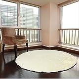 XNNSH 32 Pollici di Lusso Area Rotonda tappeti Super Soft Soggiorno Camera da Letto Tappeto Donna Yoga Mat,White,L