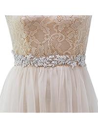 ULAPAN Womens Beadings Bridal Sash Bridal Belt Pearls Wedding Belts Wedding Sashes