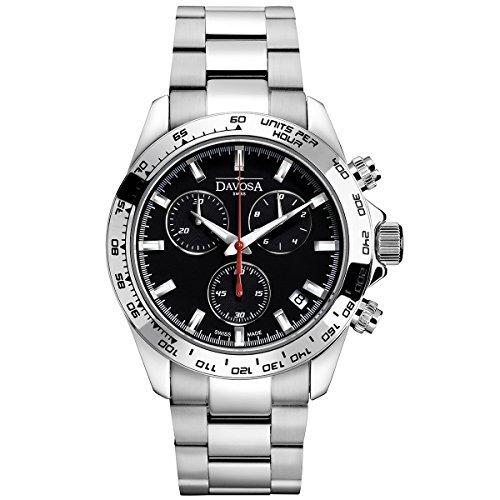 Davosa Swiss Speedline 16347055Analog Herren Armbanduhr Steel Band Schwarz Face