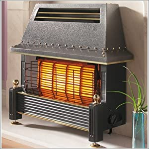 Flavel Regent Gas Fire - Natural Gas Heater, Outset Fireplace - Regency Style - Black