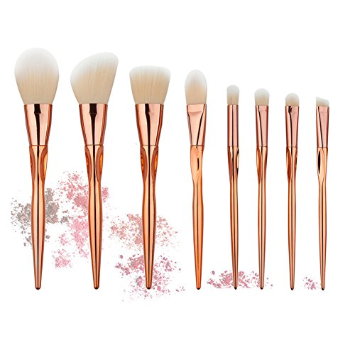 HimanJie 8pcs Rosegold maquillage pinceaux brosses Set maquillage Concave