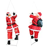 [lux.pro] Weihnachtsmann auf Leiter 90cm/60cm Weihnachts Deko Weihnachten Figur Nikolaus