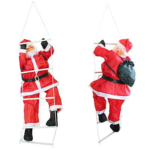 [lux.pro] babbo natale sulla scala 90cm decorazione natalizia personaggio natalizio santa claus