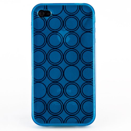 wortek® Silikon TPU Case Retro Kreis Muster Muster Apple iPhone 4 / iPhone 4S Blau Blau
