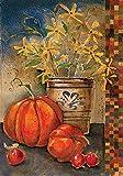 YEATRY Bannière De Jardin,Crock 30 X 45 Cm Décoratif Rustique Automne Citrouille Fleur Drapeau De La Maison De La Vaisselle
