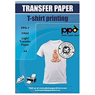 PPD Inkjet T Shirt Transfer Paper A4 for Light and White Fabric x 40 Sheets PPD-1-40