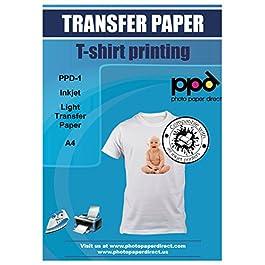 PPD A4 20 Fogli Di Carta Trasferibile Termoadesiva Per Stampanti A Getto D'Inchiostro Inkjet – T-Shirt E Tessuti Di…
