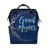COOSUN Gute Nacht Mond Nappy Wickeltasche Windel Rucksacks mit Insulated Taschen Stroller Straps, großen Kapazitäts-Multi-Funktions-stilvoller Windel-Tasche für Mama Dad Außen Groß mehrfarbig