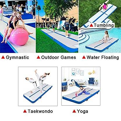 Triclicks Inflatable Air Tumble Track Gymnastics Mat With Electric Air Pump | Tumbling Mat Flooring Mat Yoga Workout Mat Training Mat | Portable Home Taekwondo Fitness Mat, 300 x 90 x 10cm 4