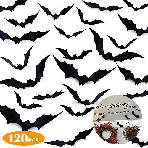 Halloween 3D Fledermäuse Dekoration, 120PCS PVC Fledermäuse Deko Flügel Faltbar, Halloween Party Zubehör für Haus Fenster Wanddekoration