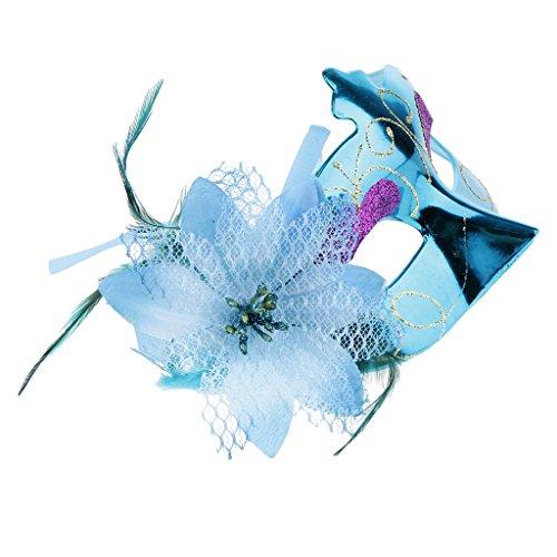 r Blume Metallische Maske Maskerade Maske Ball Party Augenmasken - Blau (Um Maskerade Masken Online)