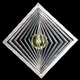 Edelstahl-Windspiel Quadrat hochkant Höhe -12cm x Breite -12cm mit Glaskugel Ø-35mm (gelb) Für den Garten und als Fensterschmuck