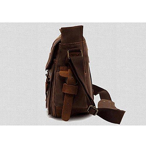 XY Fancy Damen Herren Mode Segeltuch Schultertasche Daypacks, Grau Kaffeebraun