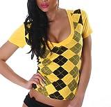 Jela London Damen Top Shirt Karo-Rauten V-Ausschnitt Größen 38-40 - Gelb