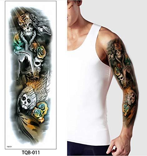 4 Stücke, Full Arm Tätowierungen Suger Schädel Rose Horror Clock Tattoos Mexikanischen Tag Der Toten Halloween Tattoo Body Tattoo Für Frauen, - Toten Mann Armee Kostüm