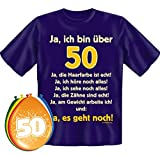 T-Shirt Fun Shirt Ja ich bin über 50 Größe XXL zum 50. Geburtstag + 8 Luftballons, lustige Geschenke