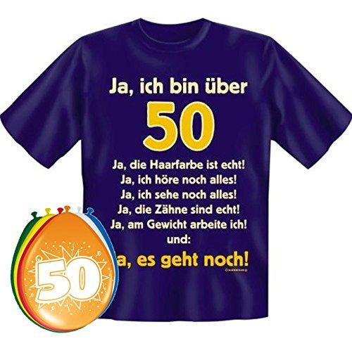 MakenGO & Co. KG Fun-Shirts-Geschenke-Textildruck T-Shirt Ja ich Bin über 50 Größe XXL zum 50. Geburtstag + 8 Luftballons