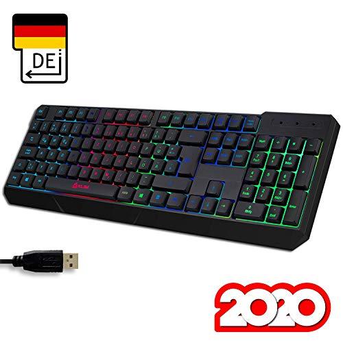 KLIM Chroma Gaming Tastatur QWERTZ DEUTSCH mit Kabel USB + Langlebig, Ergonomisch, Wasserd