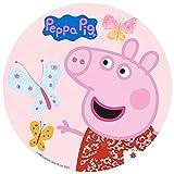 CIALDA in ostia PEPPA PIG personalizzabile, forma rotonda diam. 20 cm, decorazione per torta