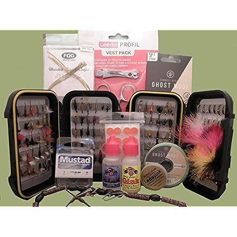 Pesca con la mosca, confezione regalo di mosche e accessori, confezione regalo disponibile (SET6), In gift box - Pesca A Mosca Indicatori Sciopero